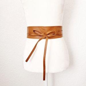Cognac Tan Brown Wide Pu Leather Obi Wrap Tie Belt